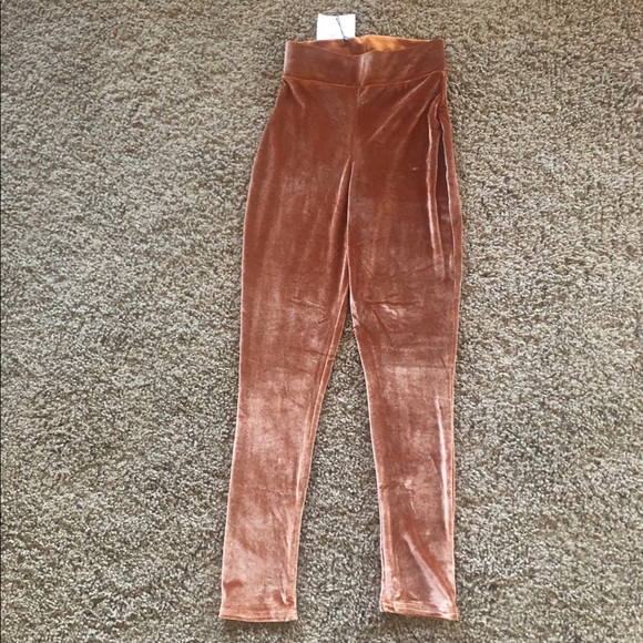 Missguided Pants - Missguided Velvet Copper Legging Tights